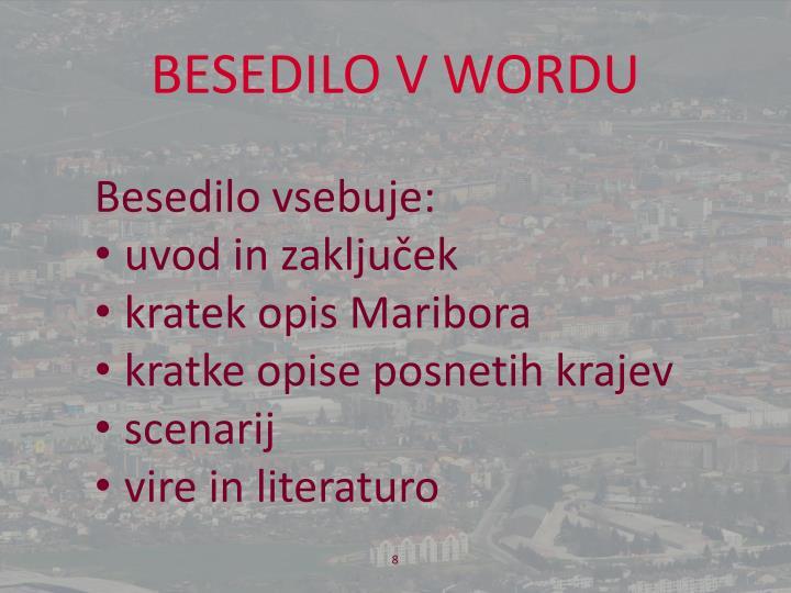 BESEDILO V WORDU