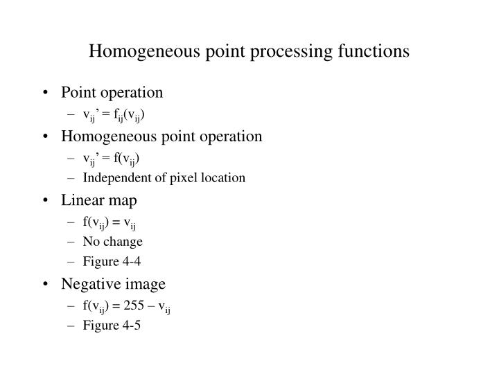 Homogeneous point processing functions