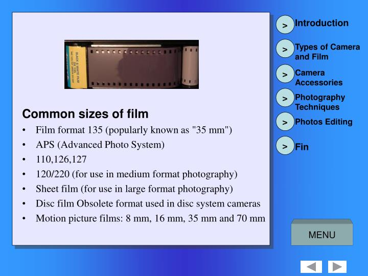 Common sizes of film
