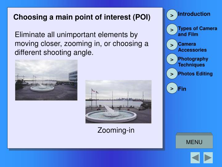 Choosing a main point of interest (POI)