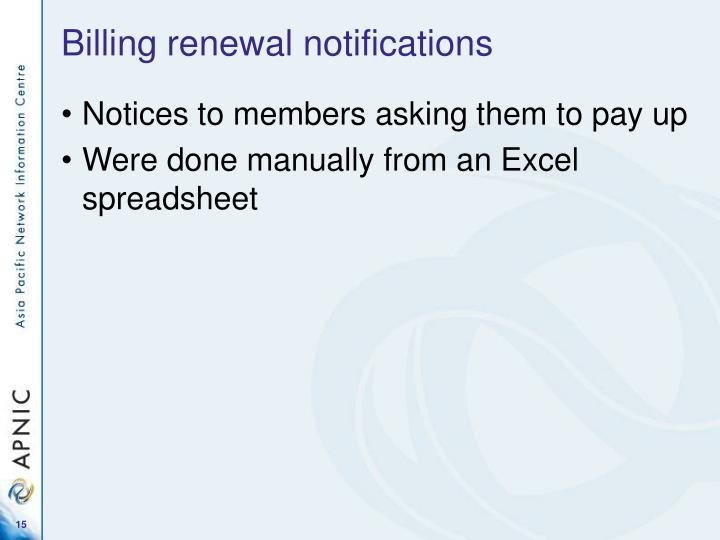 Billing renewal notifications