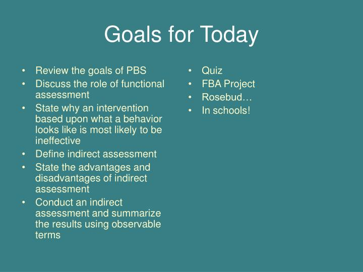 Review the goals of PBS