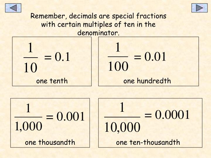 Remember, decimals are special fractions with certain multiples of ten in the denominator.