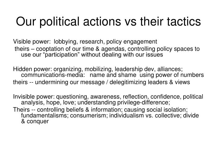 Our political actions vs their tactics