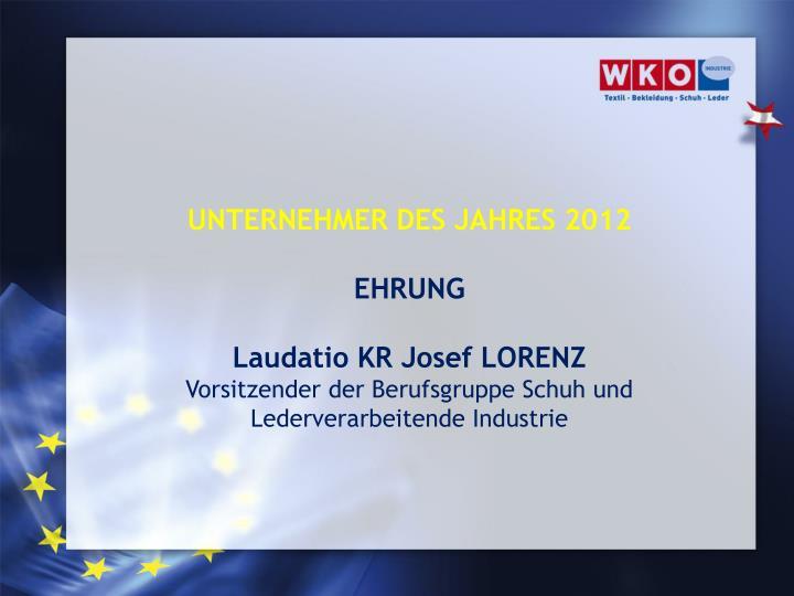 UNTERNEHMER DES JAHRES 2012
