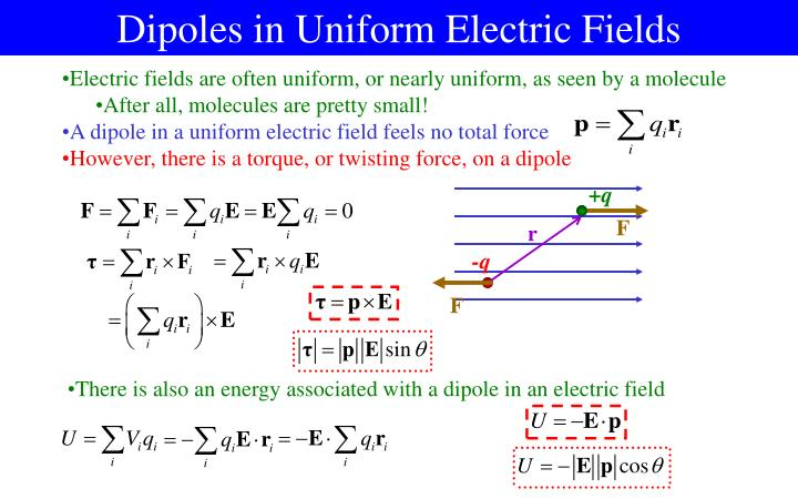 Dipoles in Uniform Electric Fields