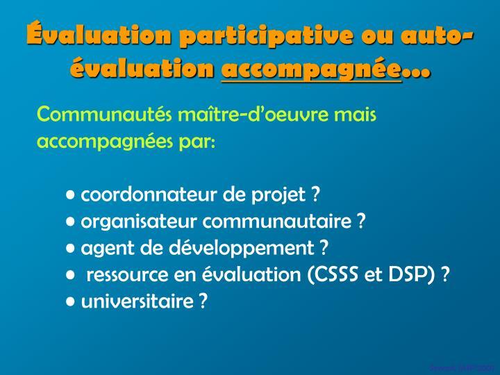 Évaluation participative ou auto-évaluation