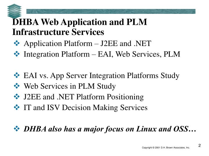 Dhba web application and plm infrastructure services