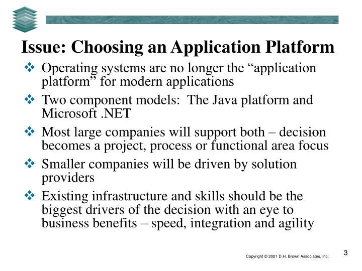 Issue: Choosing an Application Platform