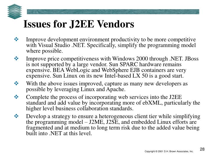 Issues for J2EE Vendors