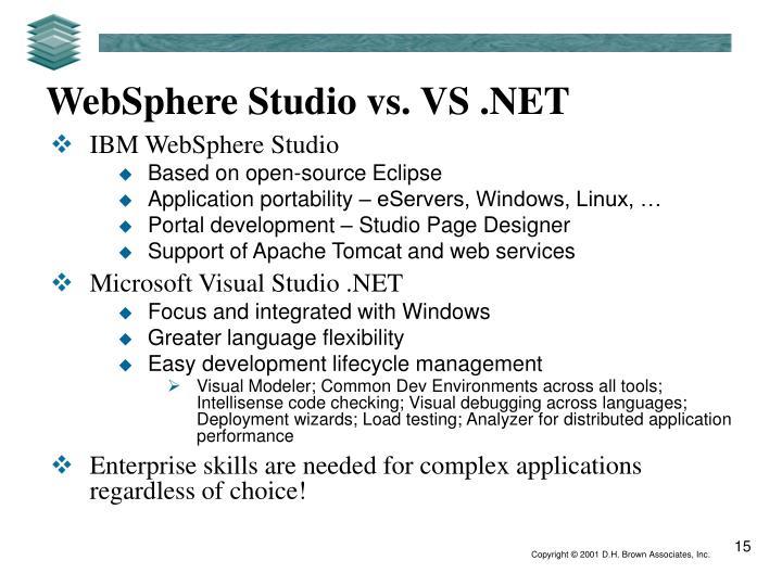 WebSphere Studio vs. VS .NET