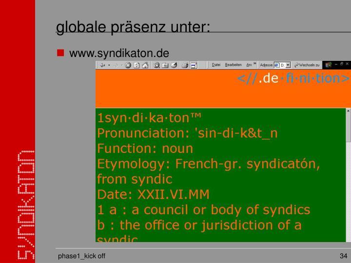 globale präsenz unter: