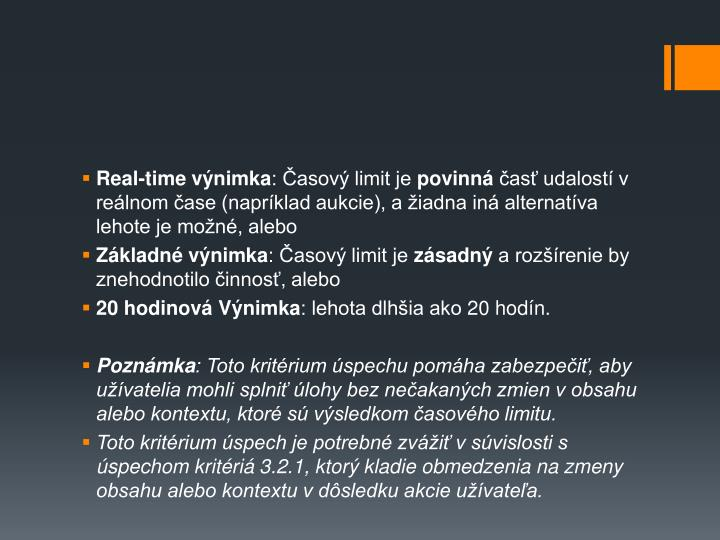 Real-time výnimka