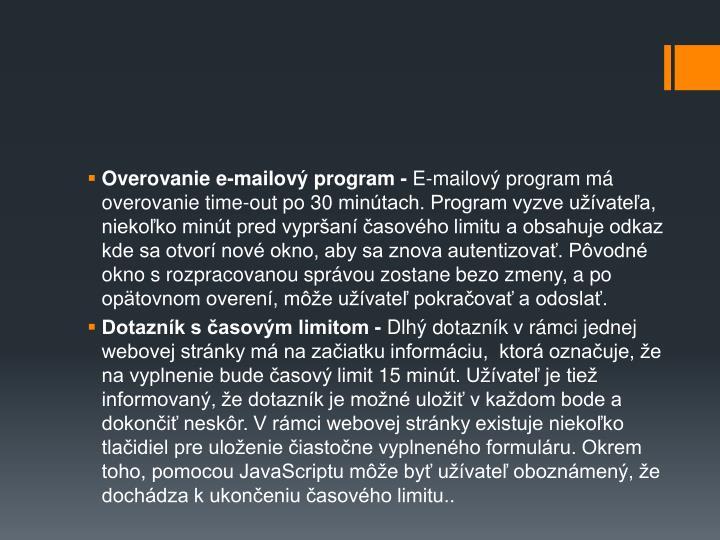 Overovanie e-mailov program -