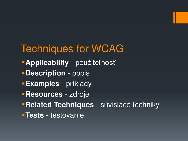 Techniques for WCAG