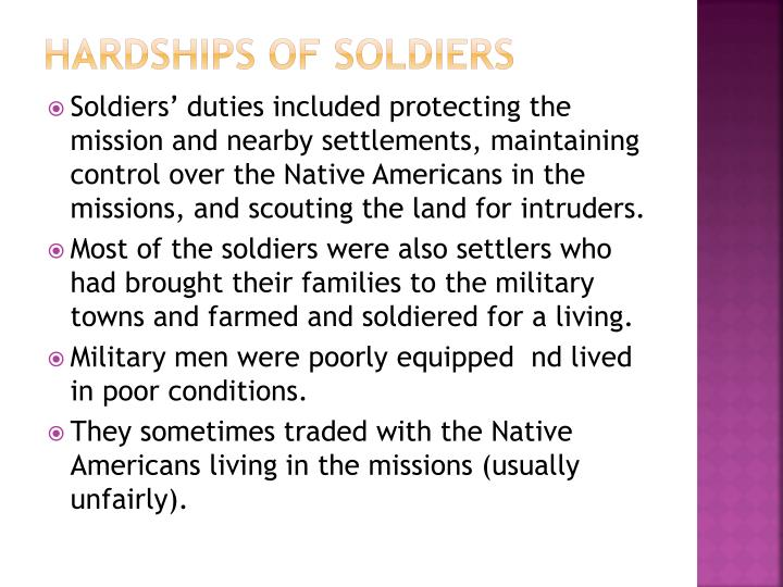Hardships of soldiers