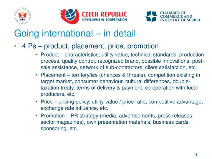 Going international – in detail