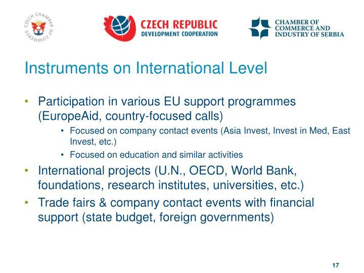 Instruments on International Level