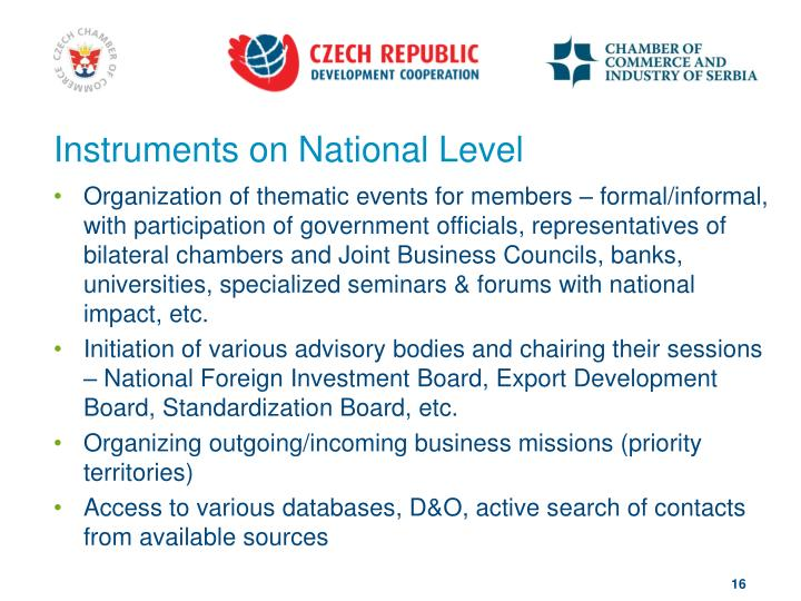 Instruments on National Level