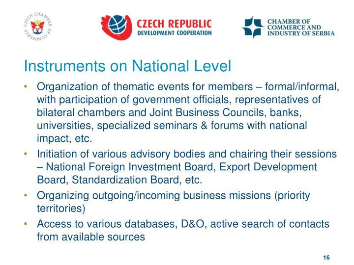 Instruments on National Level