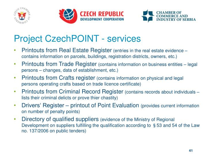 Project CzechPOINT - services