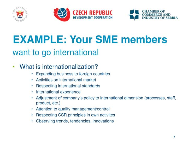 EXAMPLE: Your SME members