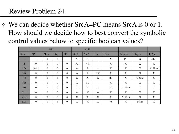 We can decide whether SrcA=PC means SrcA is 0 or 1.  How should we decide how to best convert the symbolic control values below to specific boolean values?