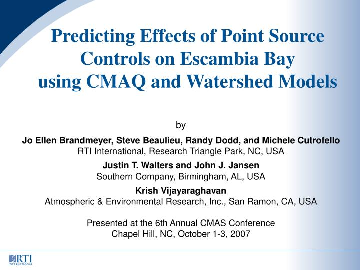 Predicting Effects of Point Source Controls on Escambia Bay