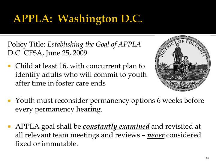 APPLA:  Washington D.C.
