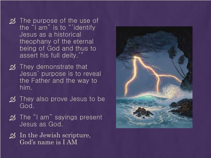 "The purpose of the use of the ""I am"" is to ""'identify Jesus as a historical theophany of the eternal being of God and thus to assert his full deity.'"""