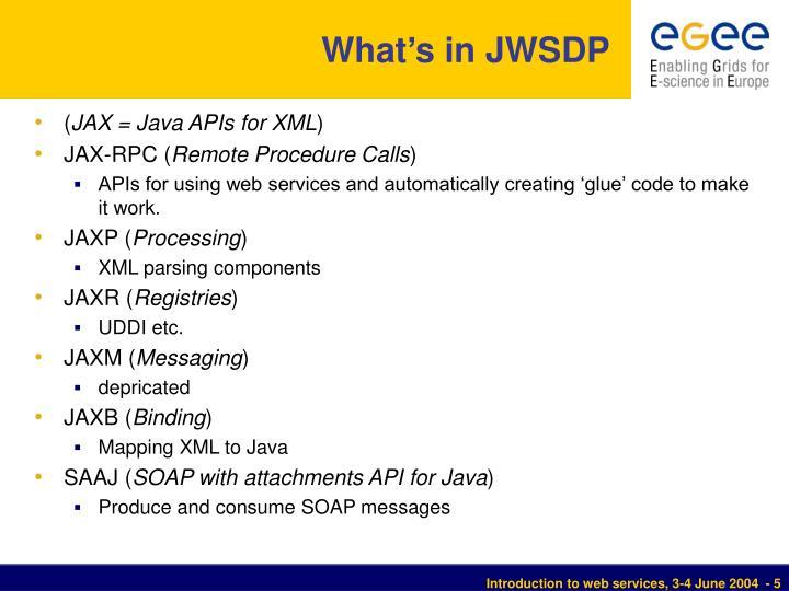 What's in JWSDP