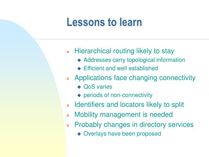 Lessons to learn