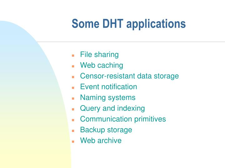 Some DHT applications