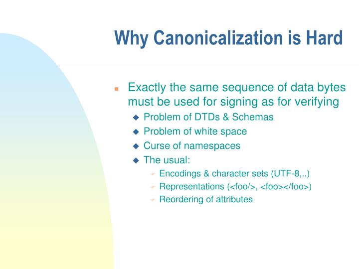 Why Canonicalization is Hard