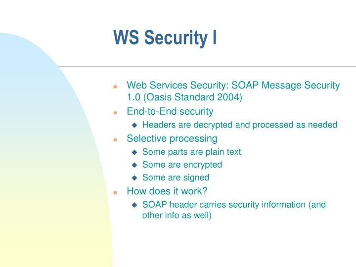 WS Security I