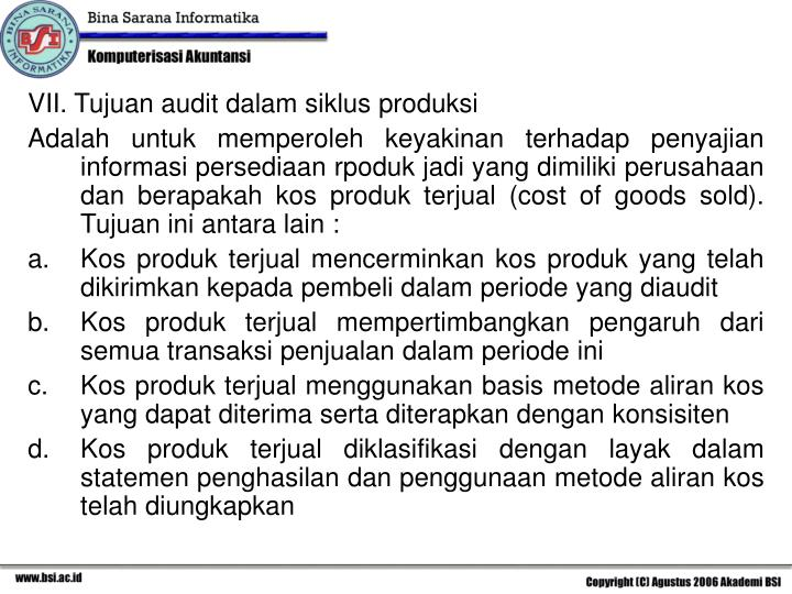 VII. Tujuan audit dalam siklus produksi