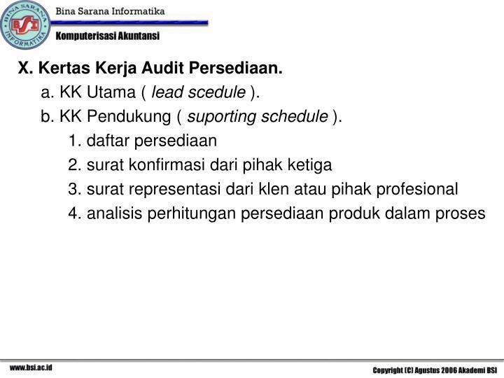 X. Kertas Kerja Audit Persediaan.