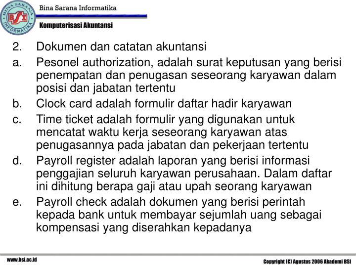 Dokumen dan catatan akuntansi