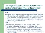 cunningham and cordeiro 2008 describe epstein s six major types of involvement