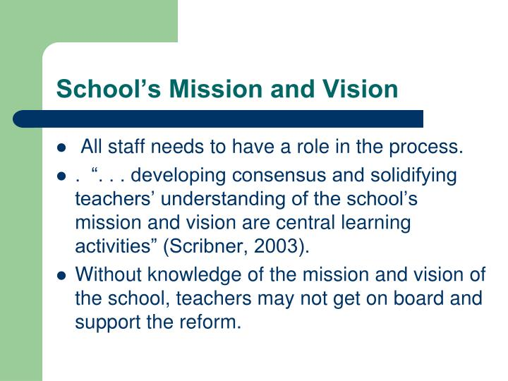 School's Mission and Vision