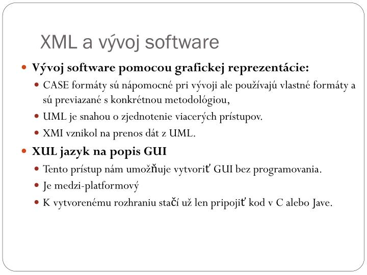 XML a vývoj software