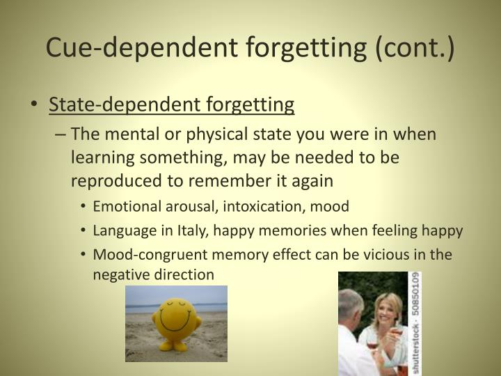 Cue-dependent forgetting (cont.)