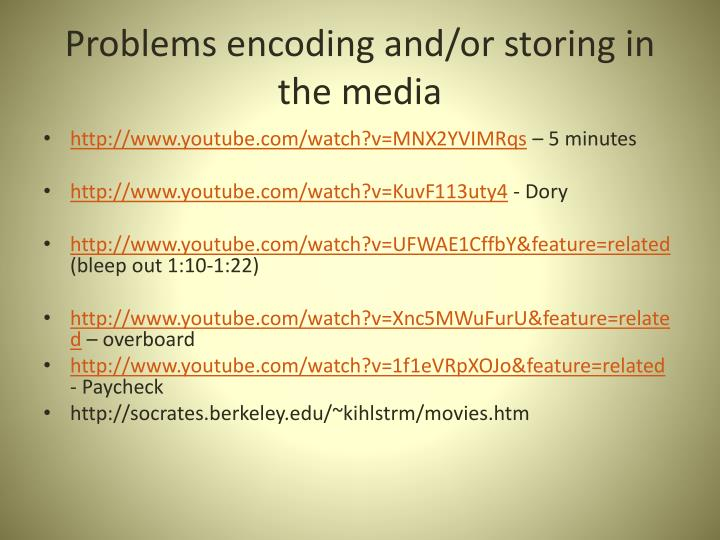 Problems encoding and/or storing in the media