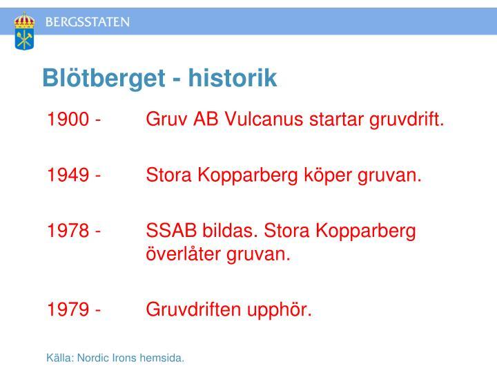 Blötberget - historik