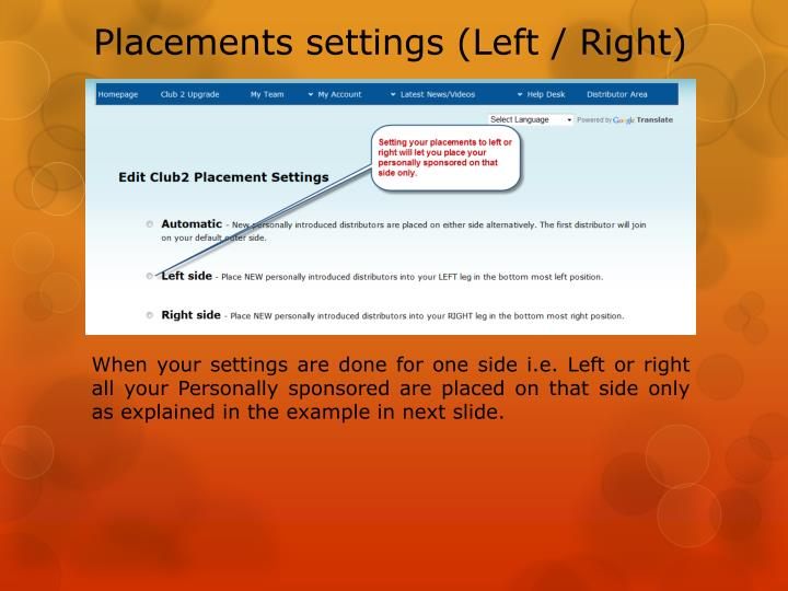 Placements settings