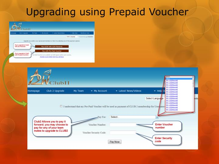 Upgrading using Prepaid Voucher