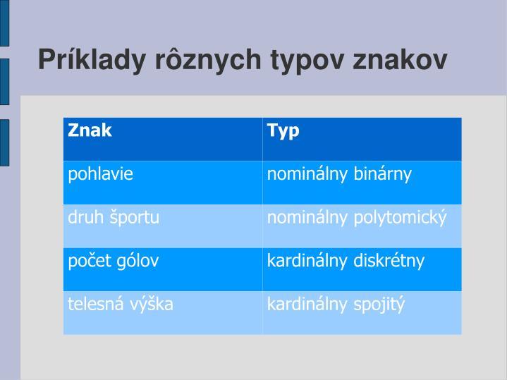 Príklady rôznych typov znakov