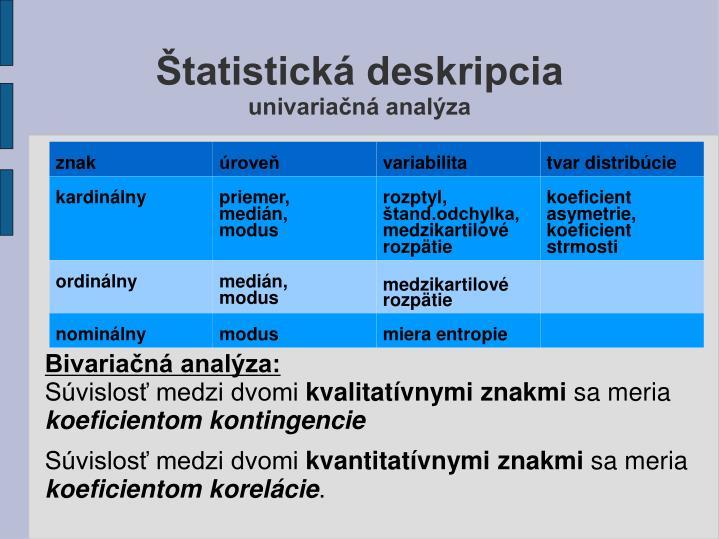 Štatistická deskripcia