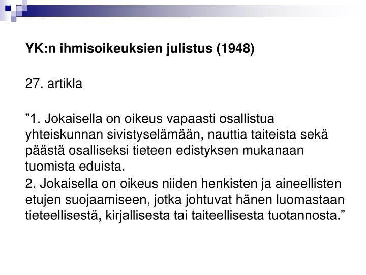 YK:n ihmisoikeuksien julistus (1948)