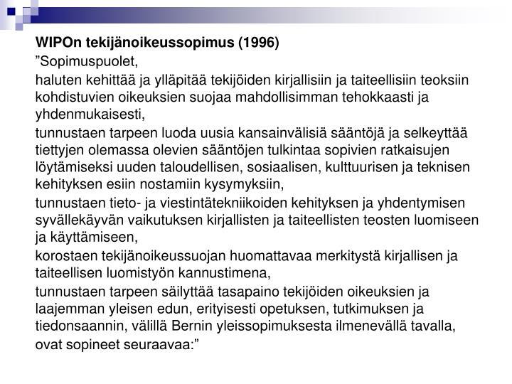 WIPOn tekijänoikeussopimus (1996)
